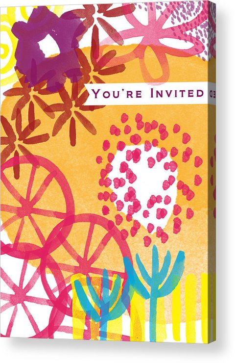 Party Invitation Acrylic Print featuring the painting Spring Floral Invitation- Greeting Card by Linda Woods