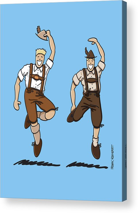 Frank Ramspott Acrylic Print featuring the drawing Two Bavarian Lederhosen Men by Frank Ramspott