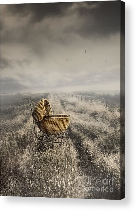 Abandoned Acrylic Print featuring the photograph Abandoned Antique Baby Carriage In Field by Sandra Cunningham