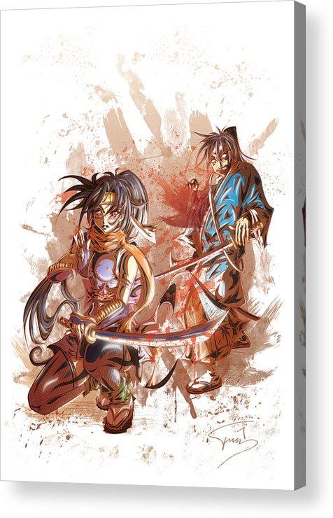 Tuan Acrylic Print featuring the drawing Aku Soku Zan 2 by Tuan HollaBack