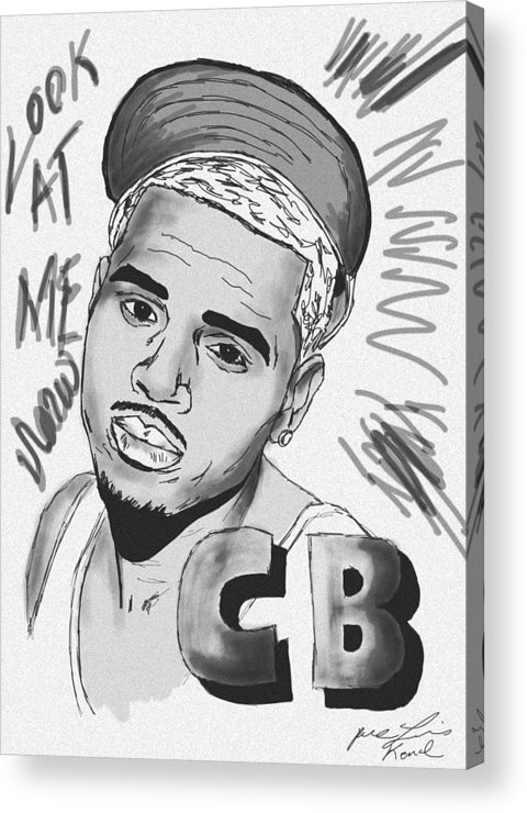 Chris Brown Drawing Acrylic Print featuring the drawing Chris Brown Cb Drawing by Pierre Louis
