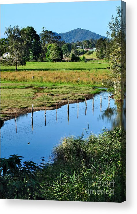 Photography Acrylic Print featuring the photograph Rural Landscape After Rain by Kaye Menner