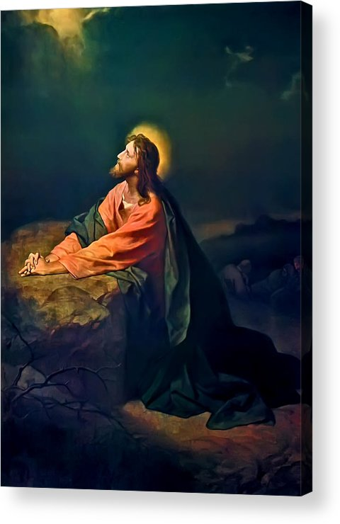 Christ In The Garden Print Acrylic Print featuring the painting Christ In Garden Of Gethsemane by Heinrich Hofmann
