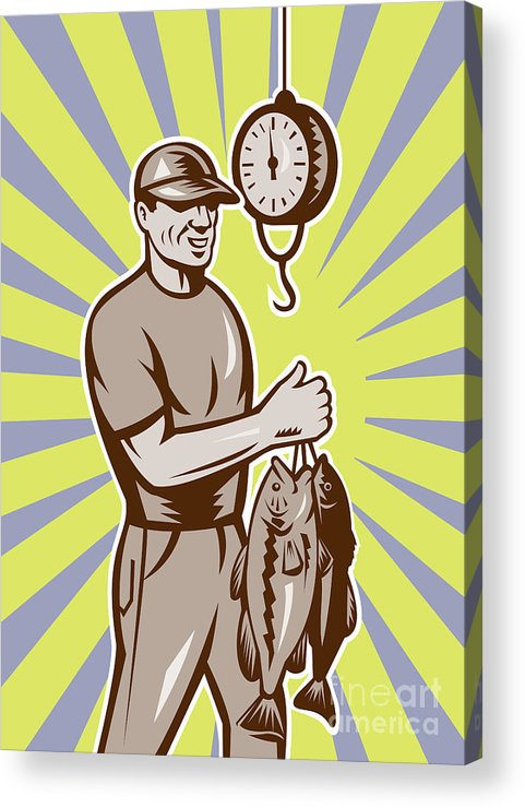 Largemouth Acrylic Print featuring the digital art Fly Fisherman Weighing In Fish Catch by Aloysius Patrimonio