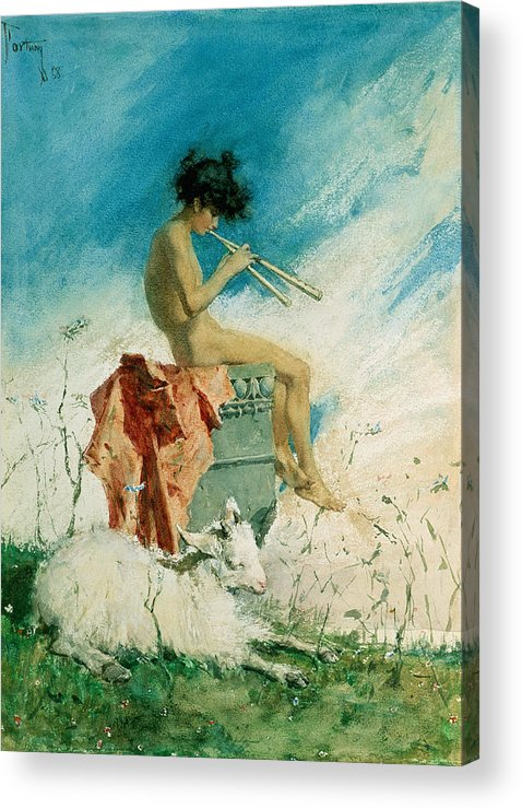 Idyll Acrylic Print featuring the painting Idyll by Mariano Fortuny y Marsal