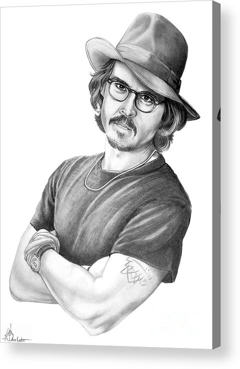 Johnny Depp Acrylic Print featuring the drawing Johnny Depp by Murphy Elliott