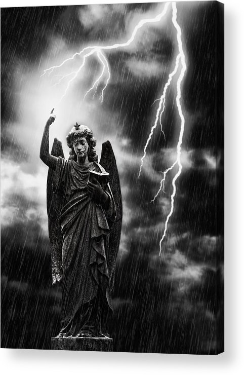 Religion Acrylic Print featuring the photograph Lightning Strikes The Angel Gabriel by Amanda And Christopher Elwell