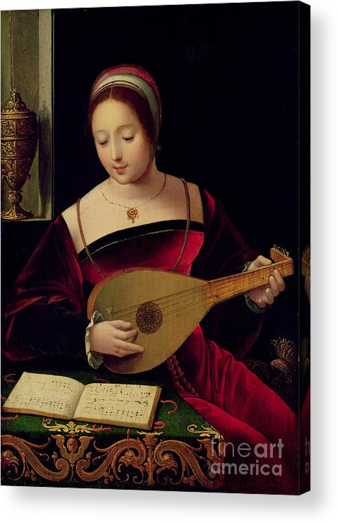 Mary Acrylic Print featuring the painting Mary Magdalene Playing The Lute by Master of the Female Half Lengths