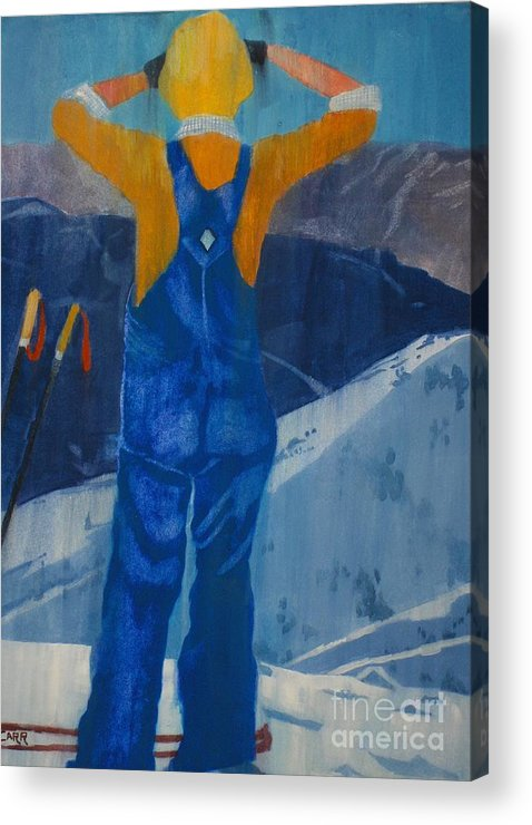 Ski Acrylic Print featuring the painting Oh Say Can You See by Elizabeth Carr