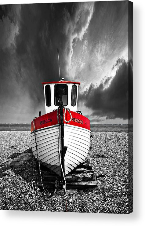Boat Acrylic Print featuring the photograph Rebecca Wearing Just Red by Meirion Matthias