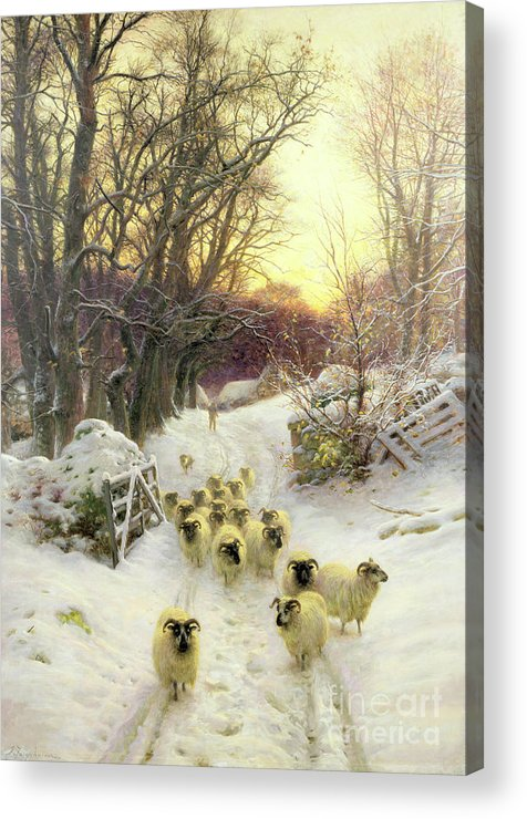 Sunset Acrylic Print featuring the painting The Sun Had Closed The Winter's Day by Joseph Farquharson