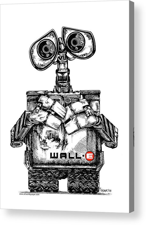 Pen And Ink Acrylic Print featuring the drawing Wall-e by James Sayer