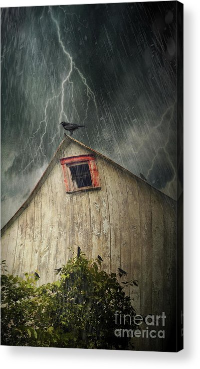 Abandoned Acrylic Print featuring the photograph Spooky Old Barn With Crows On A Stormy Night by Sandra Cunningham
