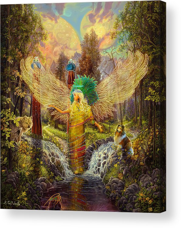 Angel Acrylic Print featuring the painting Archangel Haniel by Steve Roberts