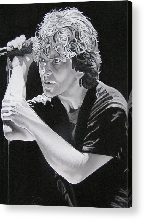 Eddie Vedder Acrylic Print featuring the drawing Eddie Vedder Black And White by Joshua Morton