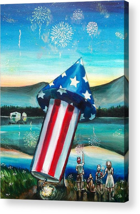 Firework Acrylic Print featuring the painting Grand Finale by Shana Rowe Jackson