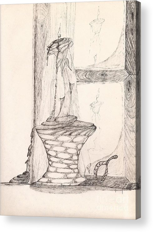 Pen And Ink Acrylic Print featuring the drawing Reflections... by Robert Meszaros