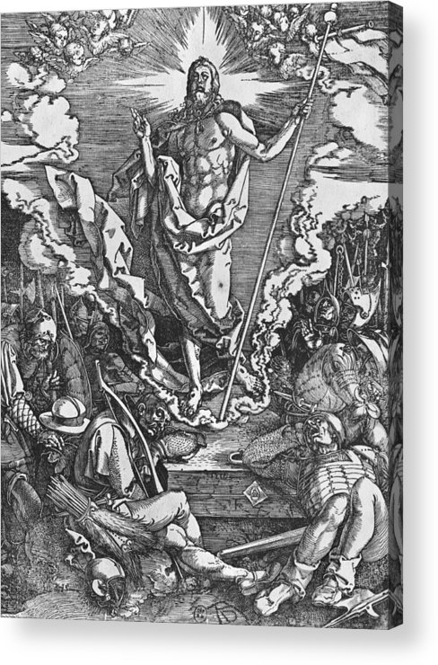 Male Acrylic Print featuring the painting Resurrection by Albrecht Duerer