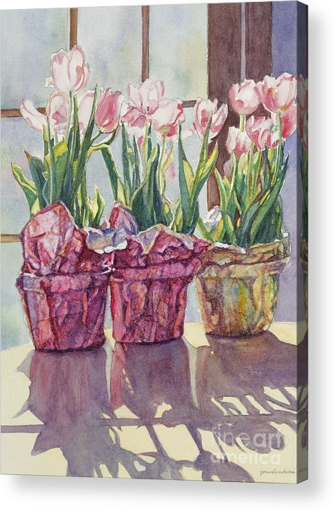 Tulips In Pots Acrylic Print featuring the painting Spring Shadows by Jan Landini