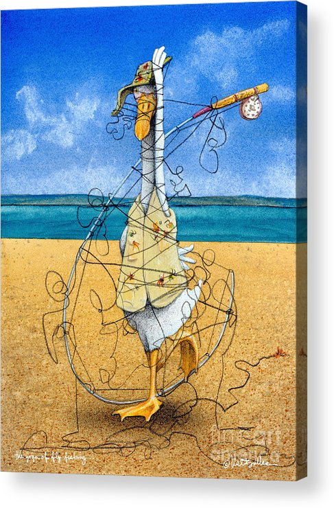 Will Bullas Acrylic Print featuring the painting The Yoga Of Fly Fishing... by Will Bullas
