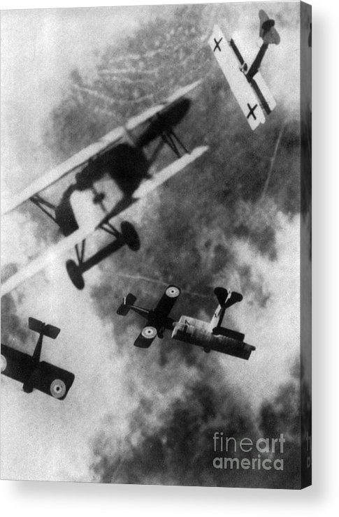 Technology Acrylic Print featuring the photograph Wwi German British Dogfight by Nypl