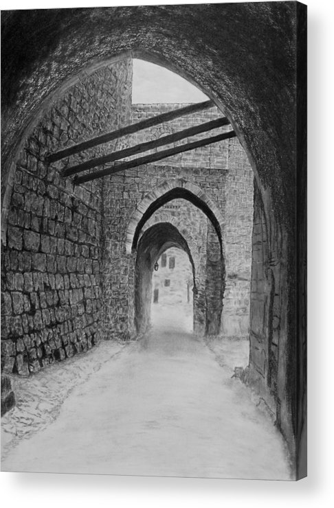 Jerusalem Acrylic Print featuring the drawing Jerusalem Old Street by Marwan Hasna - Art Beat