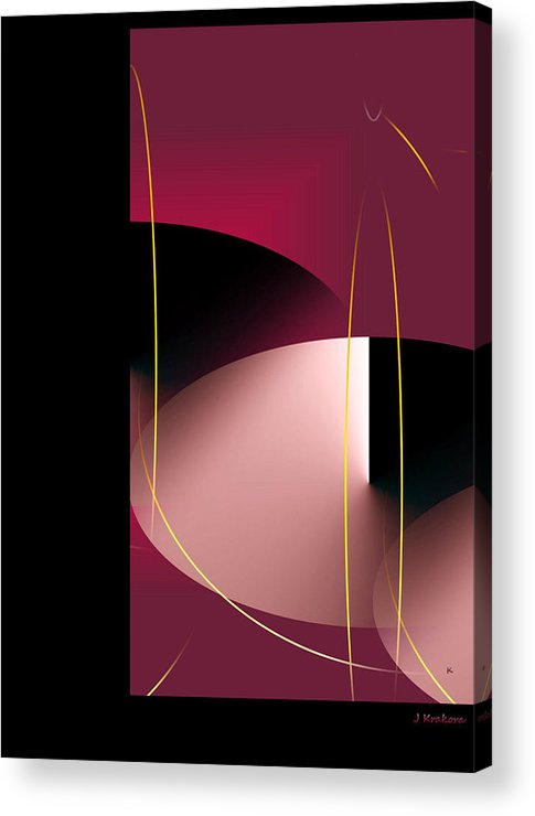 Abstract Digital Art Acrylic Print featuring the digital art Black Vs White Vs Red by John Krakora