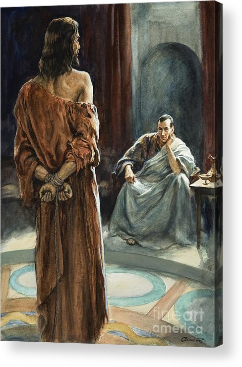 Christ; Pilate; Trial; Roman; Toga; Governor; Bible; Jesus; Rome Acrylic Print featuring the painting Christ In Front Of Pontius Pilate by Henry Coller