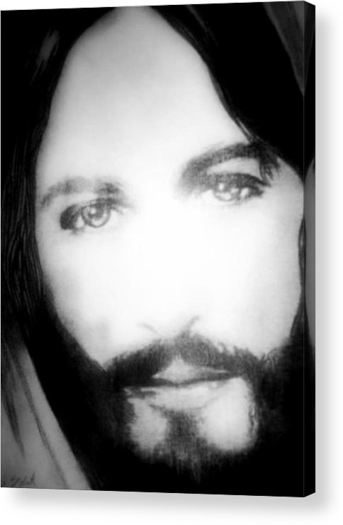 Portrait Of Jesus Messiah Jesus Likeness Icon Religious Christmas Easter Greetings Card Black And White Yeheshuah Eyes Expression Realistic Superstar Pencil Drawing Graphite Drawing Acrylic Print featuring the drawing Face Of Jesus by Susan Solak