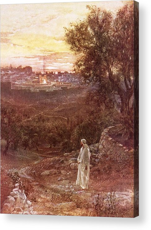 Bible; Jesus Christ; Mount Of Olives Acrylic Print featuring the painting Jesus On The Mount Of Olives by William Brassey Hole
