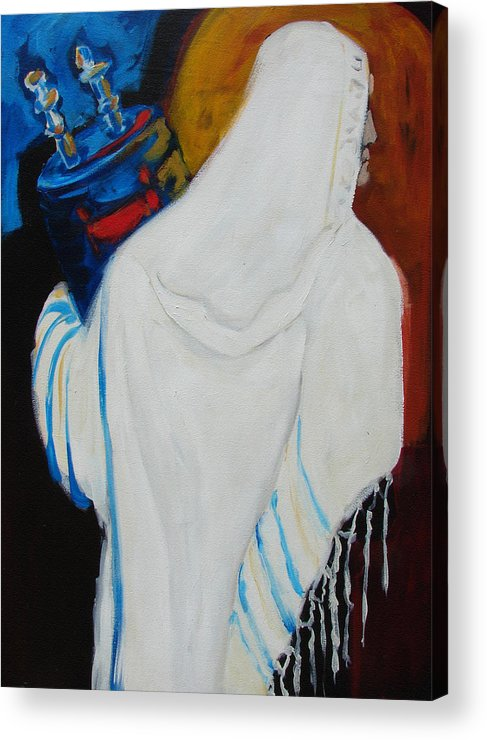 Torah Acrylic Print featuring the painting Returning The Torah by Renee Kahn