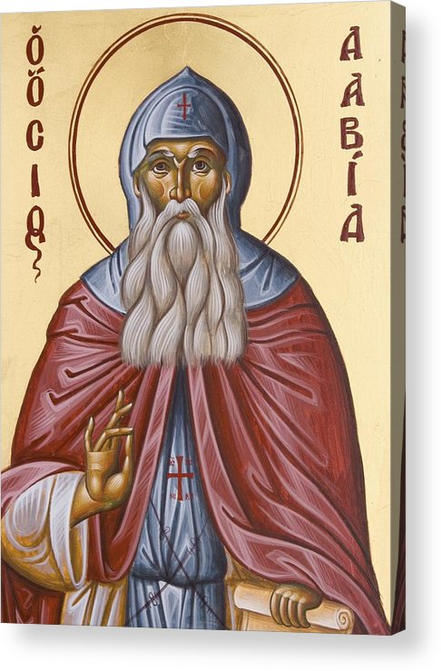 Icon Acrylic Print featuring the painting St David Of Evia by Julia Bridget Hayes