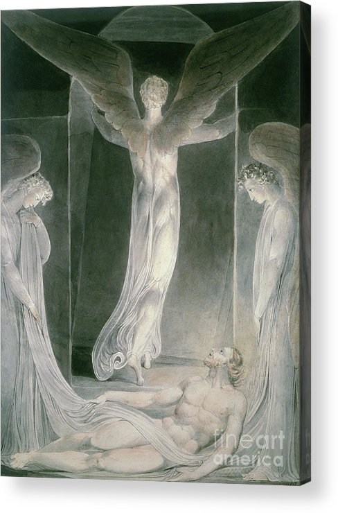 The Resurrection: The Angels Rolling Away The Stone From The Sepulchre By William Blake (1757-1827) Acrylic Print featuring the drawing The Resurrection by William Blake
