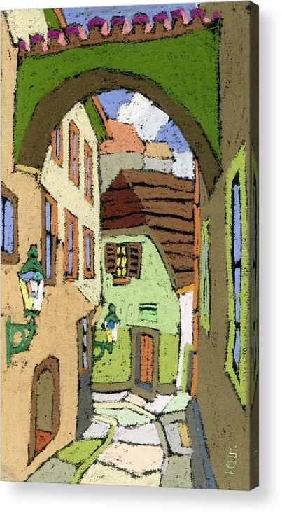 Pastel Acrylic Print featuring the painting Cesky Krumlov Masna Street by Yuriy Shevchuk