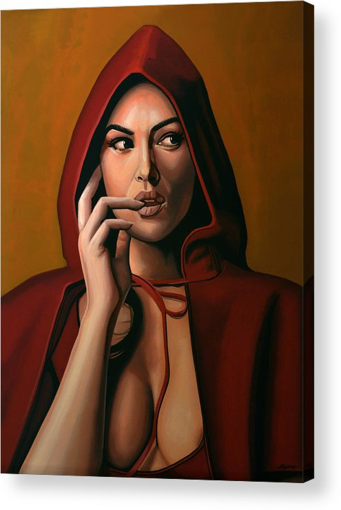 Monica Bellucci Acrylic Print featuring the painting Monica Bellucci by Paul Meijering