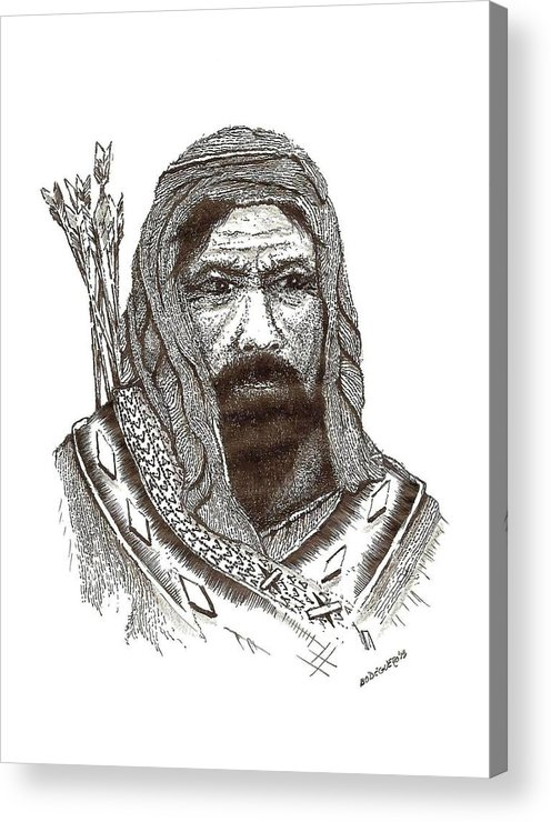 Pen And Ink Acrylic Print featuring the drawing Ancient Hunter A Pen And Ink Drawing by Mario Perez
