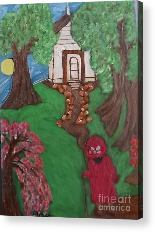 Black Lady Black Primitiveblack Art Mildred Chatman Folkart Louisiana Southerngenre Africanamerican Acrylic Print featuring the painting Climbin 2 by Mildred Chatman