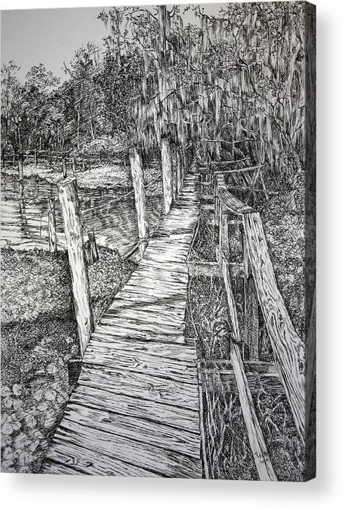 Florida Landscape Acrylic Print featuring the drawing Days Gone By by Janet Felts