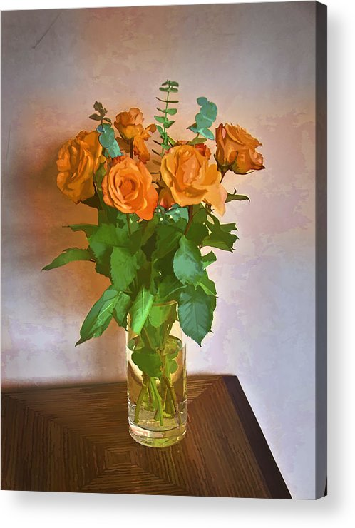 Roses Acrylic Print featuring the photograph Orange And Green by John Hansen