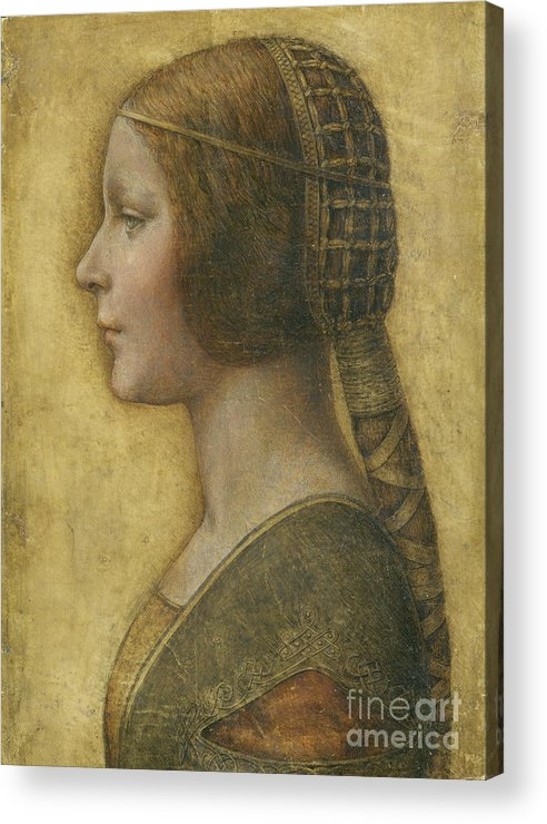 Female; Portrait; Plait; Hairstyle; Drawing; Renaissance; Leonardo Acrylic Print featuring the painting Profile Of A Young Fiancee by Leonardo Da Vinci
