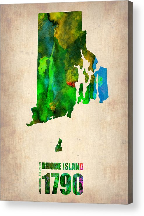 Rhode Island Acrylic Print featuring the digital art Rhode Island Watercolor Map by Naxart Studio