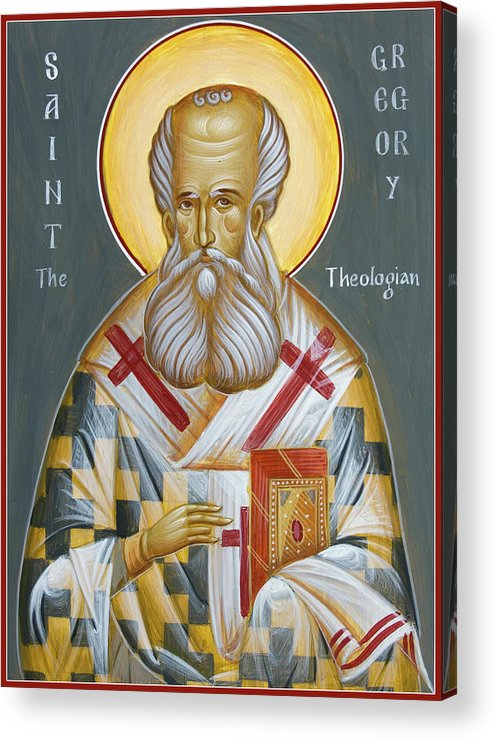Orthodox Icon Acrylic Print featuring the painting St Gregory The Theologian by Julia Bridget Hayes