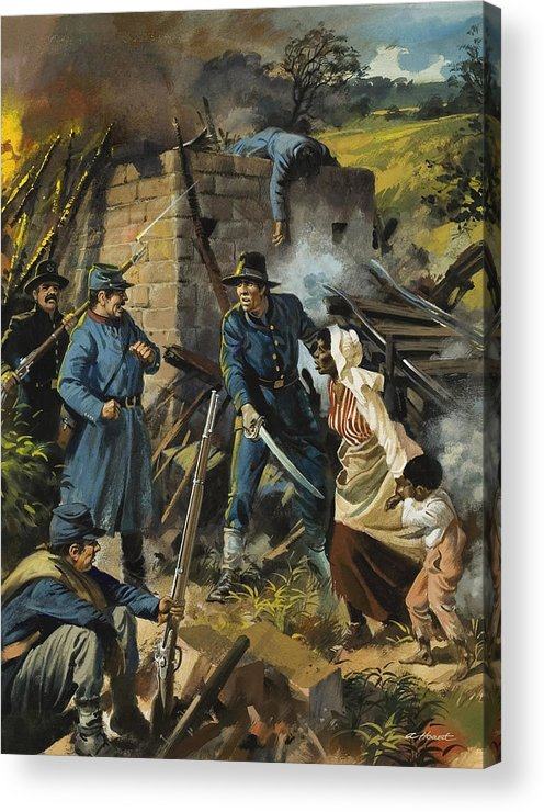 Abolitionist; Escape; Escaping; African-american; Afro-american; Us; Usa; United States; Freeing; Liberating; Emancipation; Abolition; Slave Trade; African American Acrylic Print featuring the painting John Brown On 30 August 1856 Intercepting A Body Of Pro-slavery Men by Andrew Howart