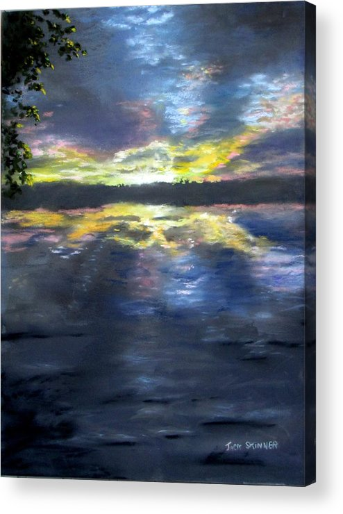 Sunset Acrylic Print featuring the painting Sunset Over Mystic Lakes by Jack Skinner