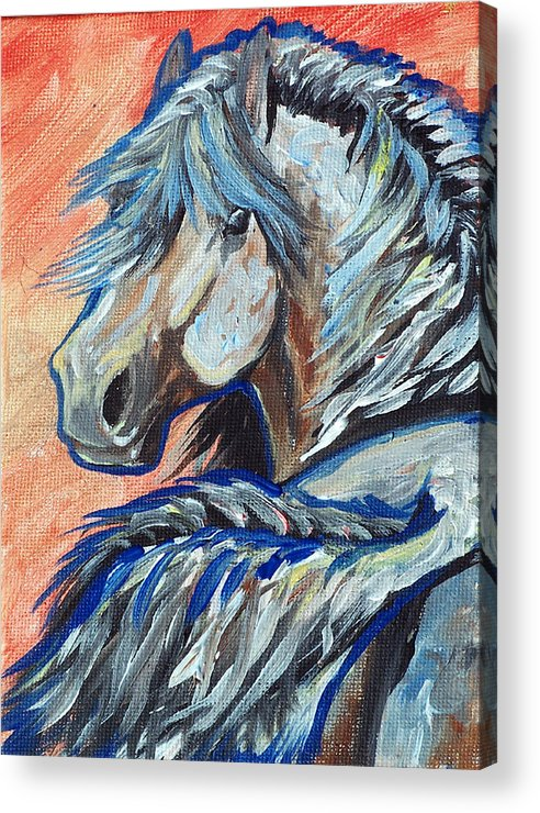 Horse Acrylic Print featuring the painting Showing Off For The Ladies by Jenn Cunningham