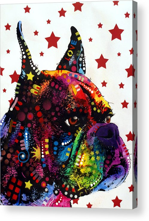 Boxer Acrylic Print featuring the painting Boxer Love by Dean Russo