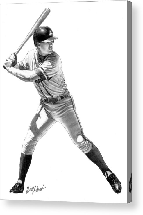 Chipper Jones Acrylic Print featuring the drawing Chipper Jones by Harry West