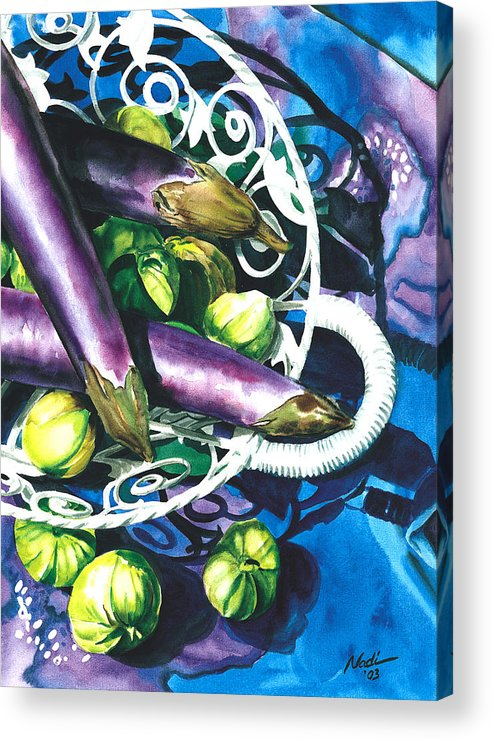 Food Acrylic Print featuring the painting Eggplants by Nadi Spencer