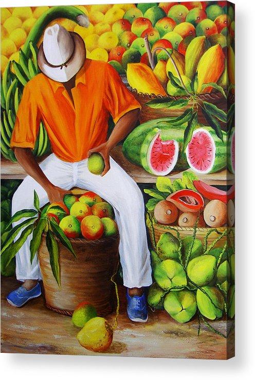 Caribbean Acrylic Print featuring the painting Manuel The Caribbean Fruit Vendor by Dominica Alcantara