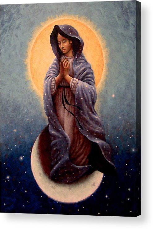 Mary Acrylic Print featuring the painting Mary Queen Of Heaven by Timothy Jones